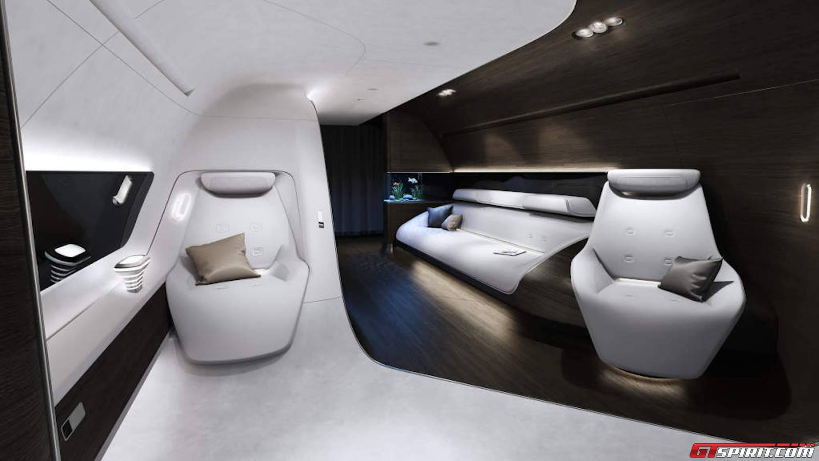 mercedes benz design shows first luxurious private jet interior at ebace 2015 gtspirit. Black Bedroom Furniture Sets. Home Design Ideas
