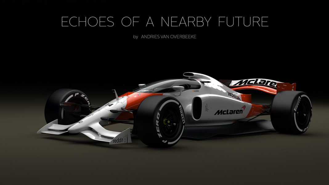 McLaren F1 car rendered with closed cockpit front