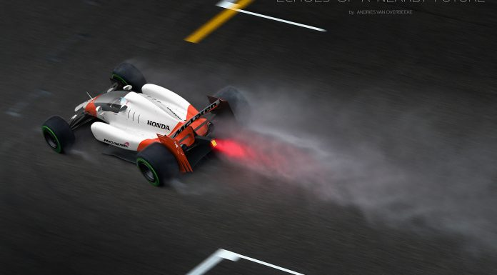 McLaren F1 car rendered with closed cockpit rear