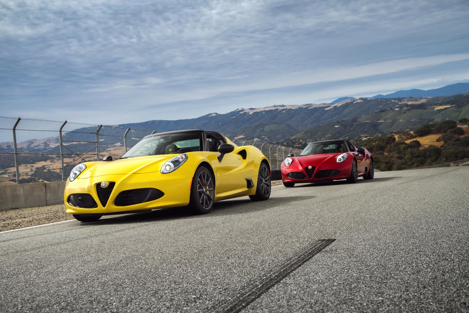 Yellow and Red Alfa Romeo 4C Spider