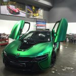 BMW i8 Wrapped in Matte Green Chrome