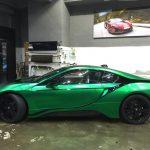 Matte Green Chrome BMW i8 side view