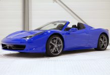 Bugatti Blue Ferrari 458 Spider front