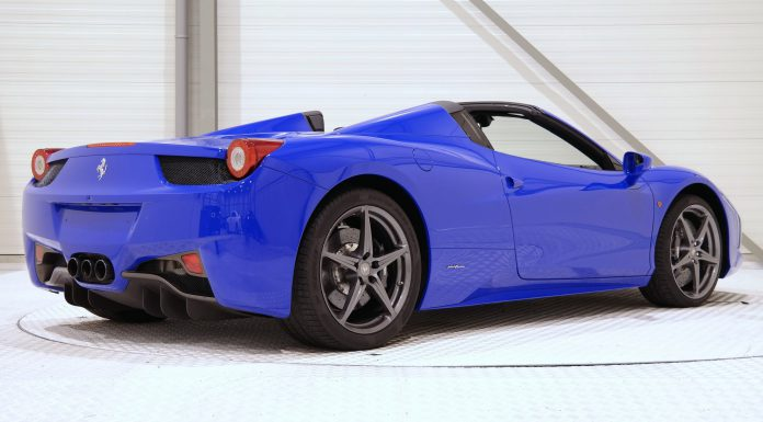 Bugatti Blue Ferrari 458 Spider rear