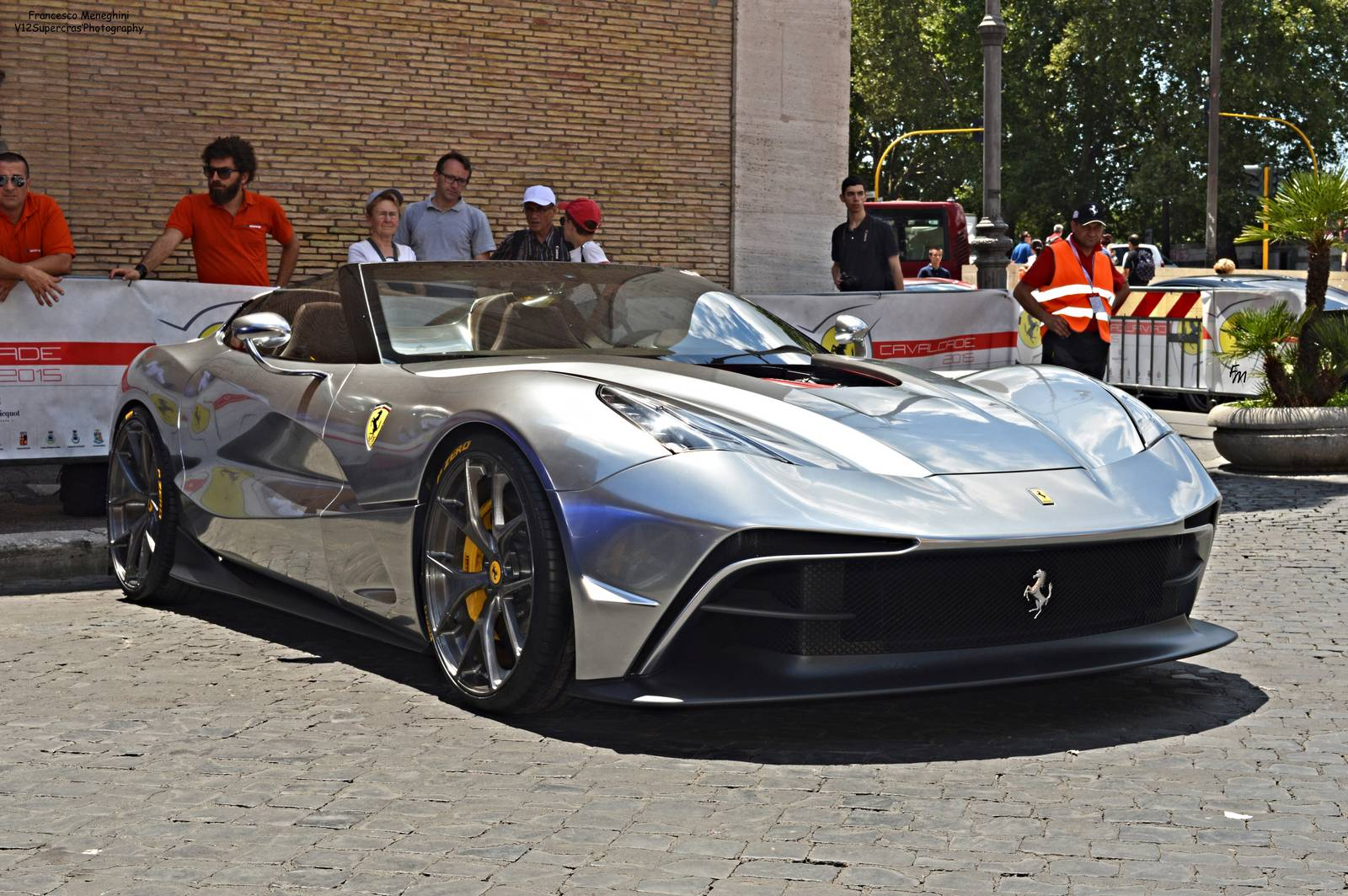 Silver Chrome Ferrari F12 TRS Snapped in Rome , GTspirit