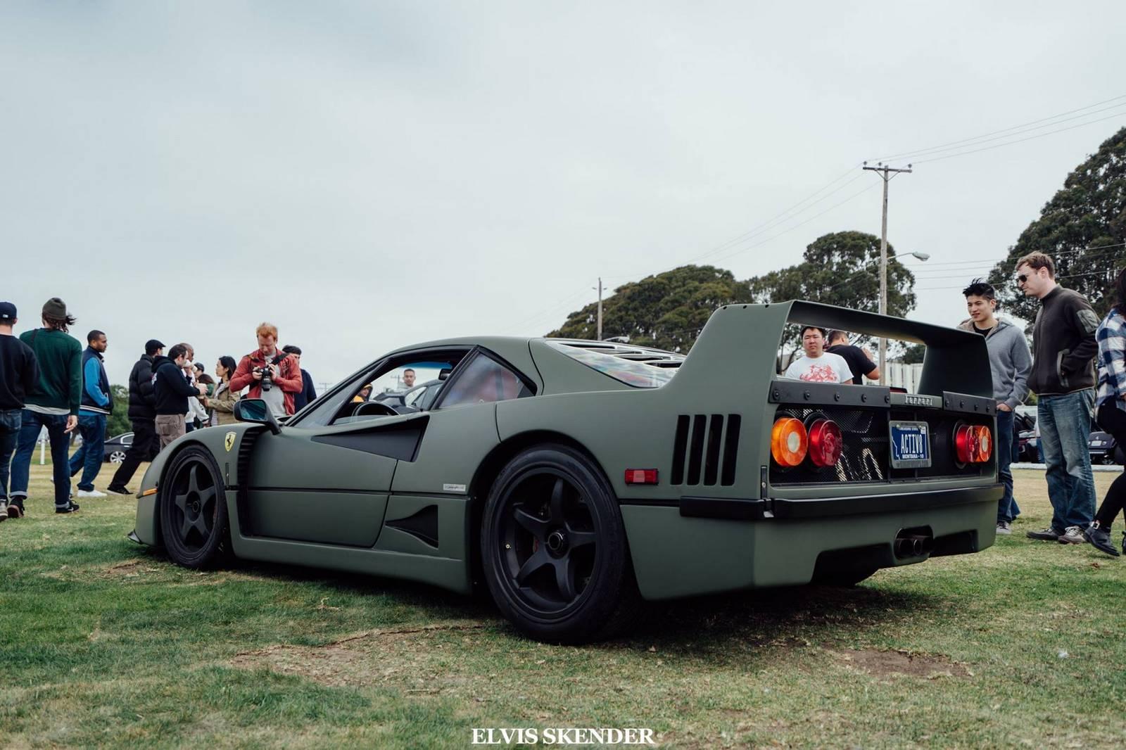 Matte Green Ferrari F40 In San Francisco Gtspirit