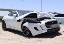 White Jaguar F-Type R Coupe crashes in Dubai
