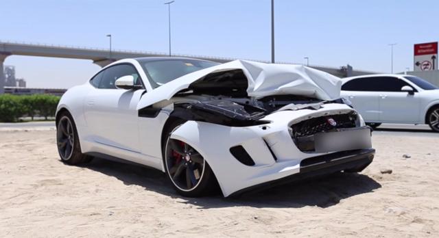 White Jaguar F-Type R Coupe crashes in Dubai