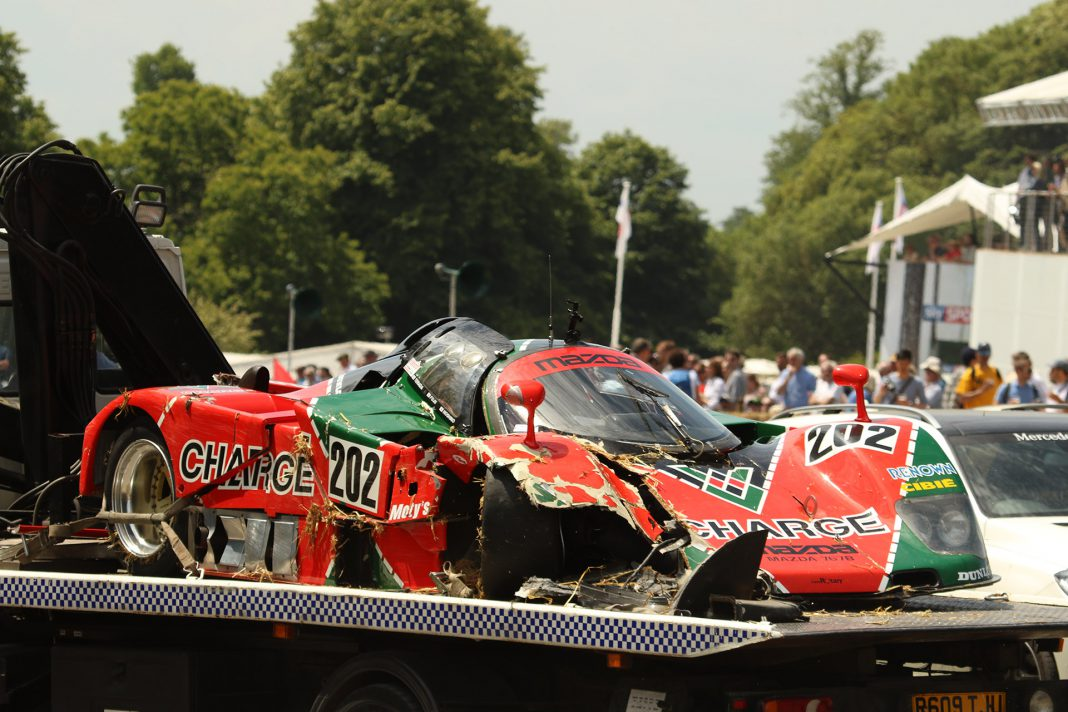 Mazda 767B crash at Goodwood