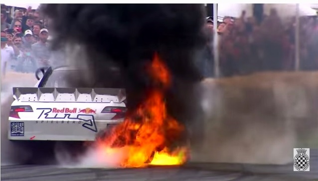 Video: NASCAR Bursts Out Into Flames While Doing Burnout at Goodwood
