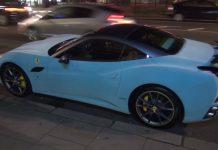 Blue Velvet Ferrari California in London!