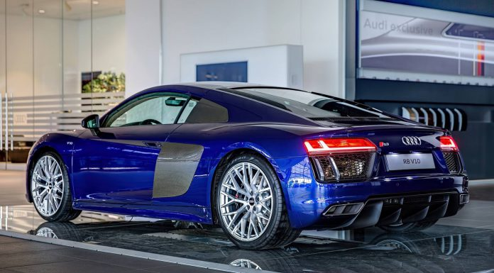 Santorini Blue Audi R8 V10 on display 2
