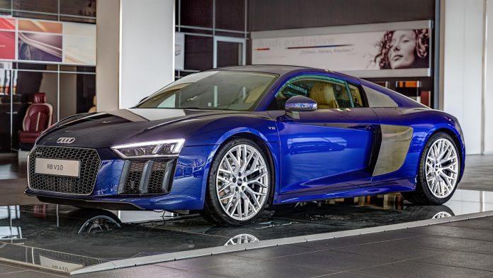 Santorini Blue Audi R8 V10 on display