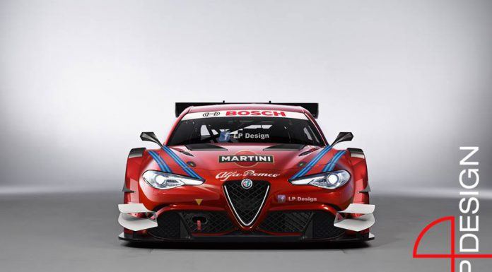 Alfa Romeo Giulia rendered as a DTM racer front