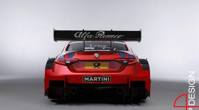 Alfa Romeo Giulia rendered as a DTM racer rear