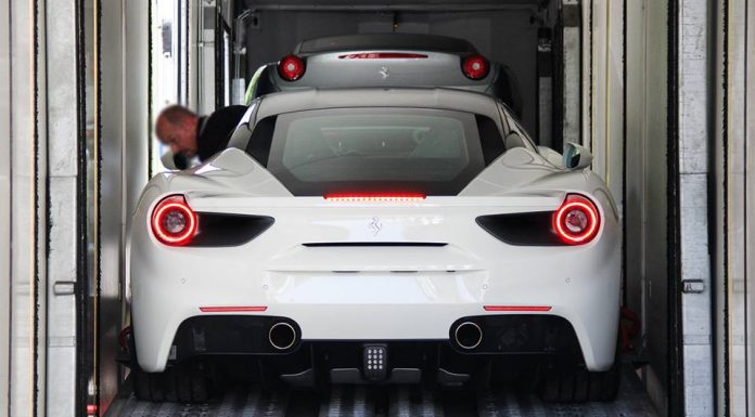 White Ferrari 488 GTB rear