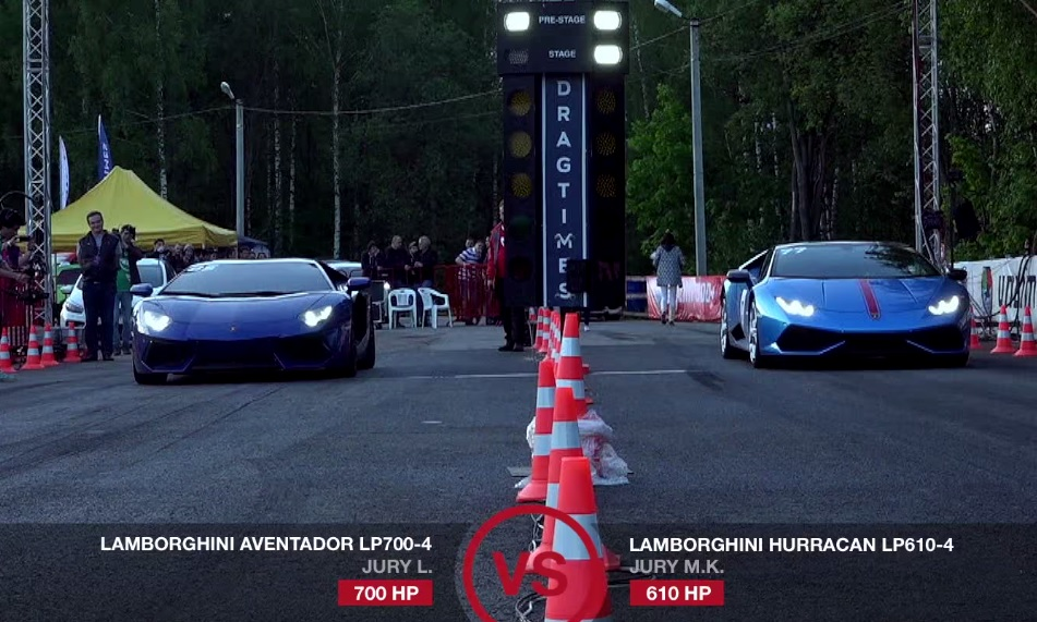 video lamborghini aventador vs huracan is insanely close gtspirit. Black Bedroom Furniture Sets. Home Design Ideas