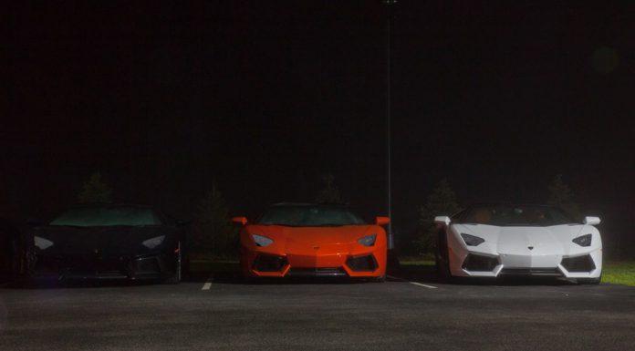 Three Lamborghini Aventador