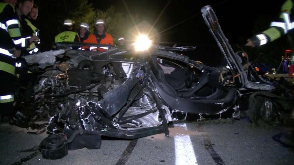 McLaren 12C crashes at 240 km/h