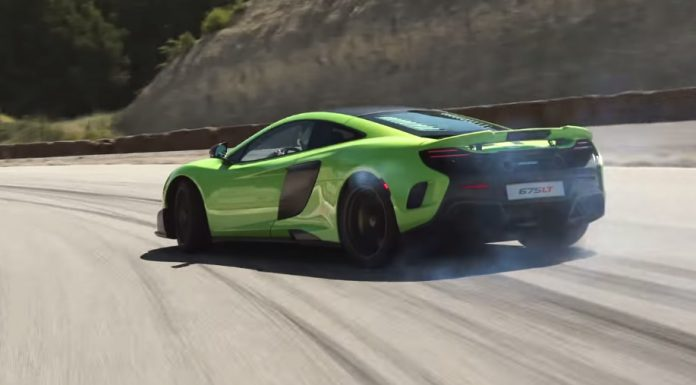 McLaren 675LT in Napier Green hits the track