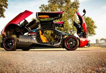 Red Pagani Huayra doors up