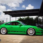 Green Porsche 911 GT3 RS Rides on White HRE Wheels