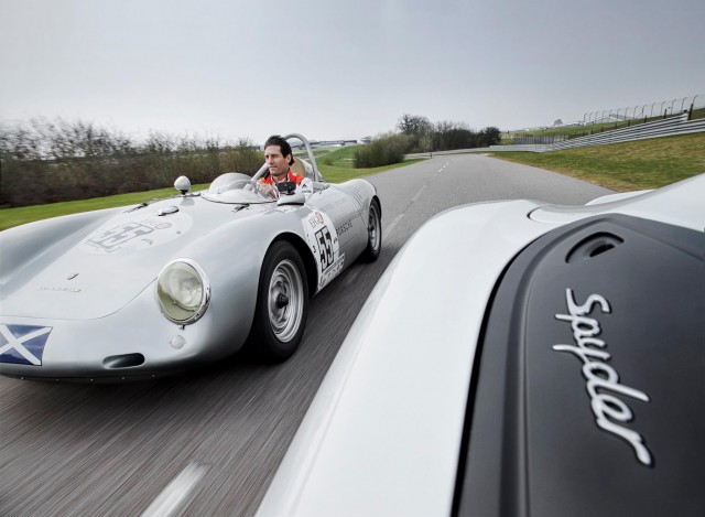 mark webber unites porsche 550 spyder with boxster spyder. Black Bedroom Furniture Sets. Home Design Ideas