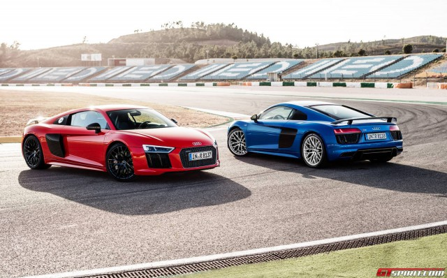 Red and Blue Audi R8 V10 Plus
