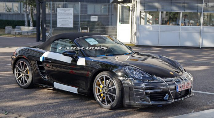 Facelifted Porsche Boxster spied testing