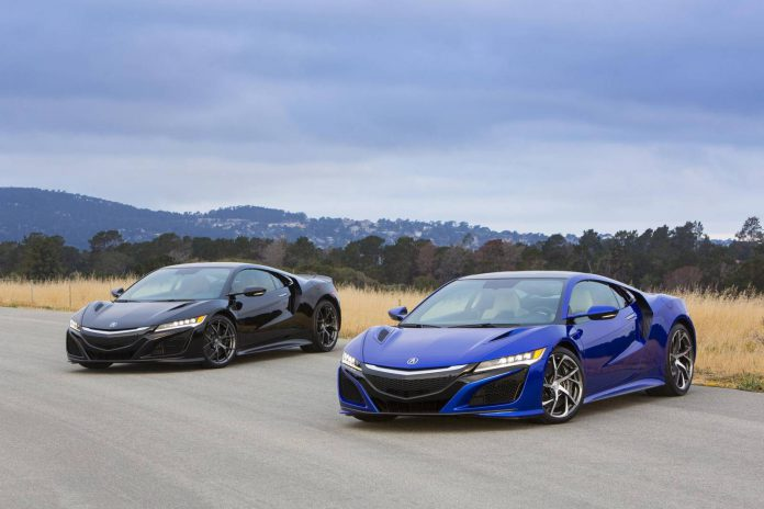 Blue and Black Acura NSX