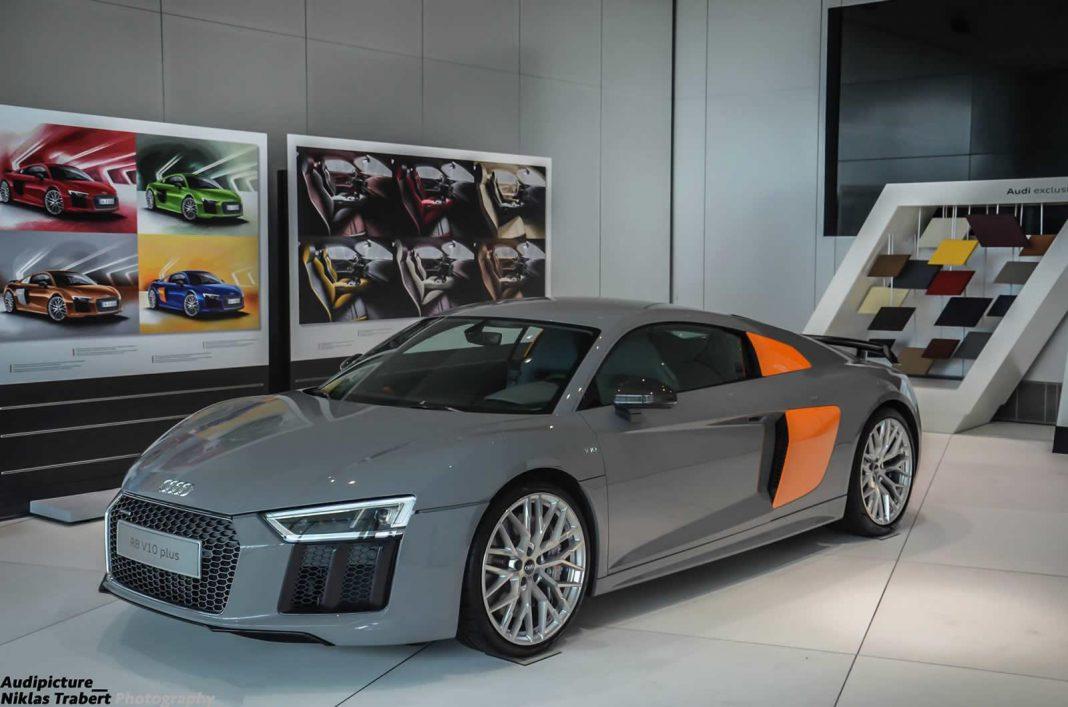 Grey and Orange Audi R8 V10 Plus
