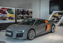 Grey and Orange Audi R8 V10 Plus