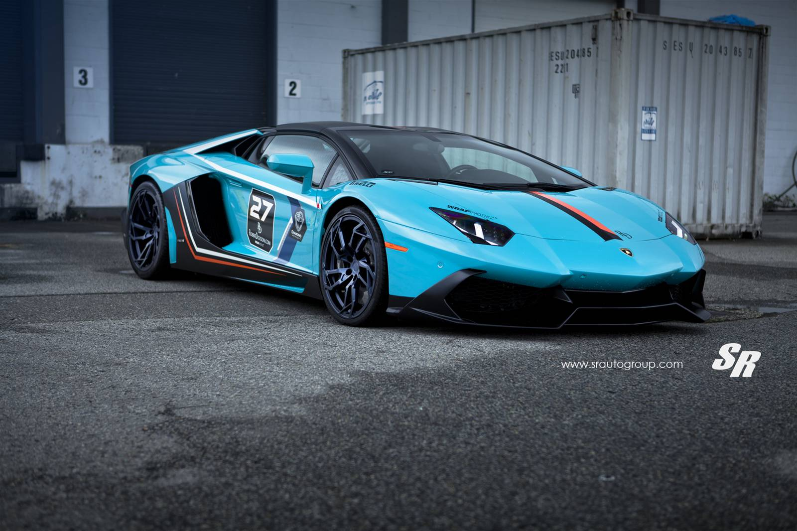 Blue Lamborghini Aventador With 50th Anniversary