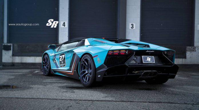 Blue Lamborghini Aventador rear view