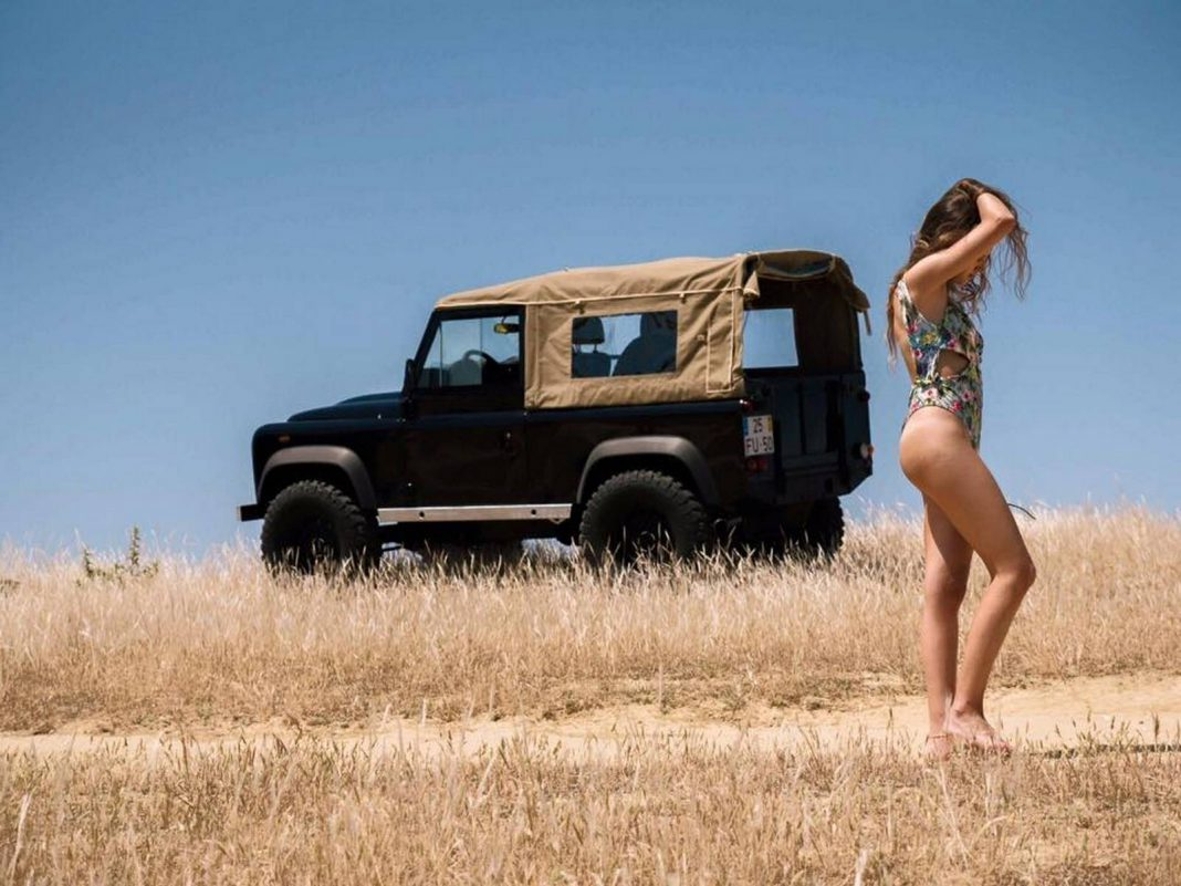 Cars And Girls Hot Model And A Land Rover Defender At The