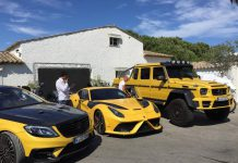 Yellow Mansory Ferrari F12 Stallone and Mercedes G63 AMG 6x6