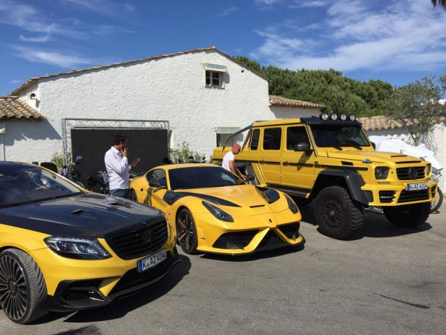 Yellow mansory ferrari f12 stallone and mercedes g63 amg for Mercedes benz g63 6x6 for sale