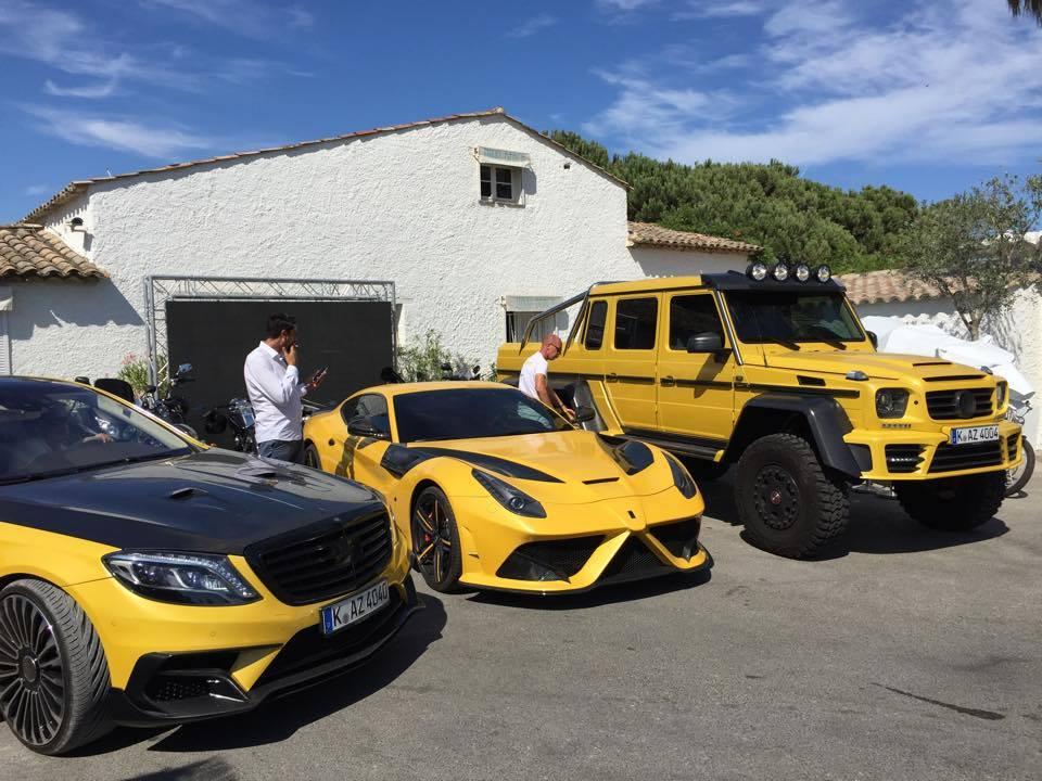 Yellow Mansory Ferrari F12 Stallone and Mercedes G63 AMG 6x6