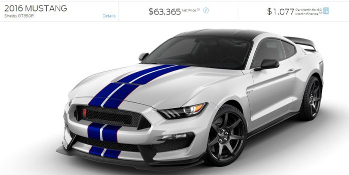 Ford Mustang Shelby GT350R configurator