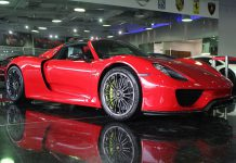 Red Porsche 918 Spyder for sale front