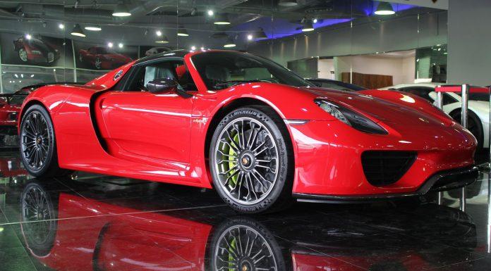 Red Porsche 918 Spyder for sale front