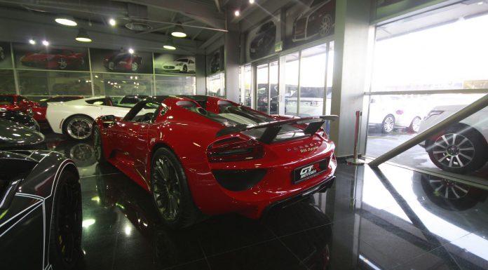 Red Porsche 918 Spyder for sale rear