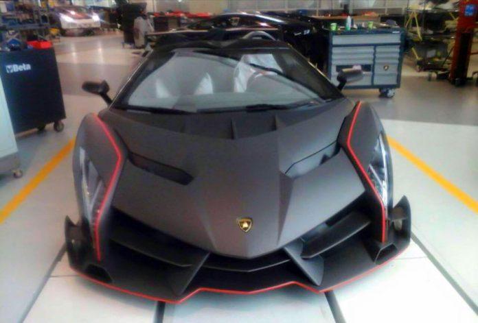 Matte carbon Lamborghini Veneno Roadster front
