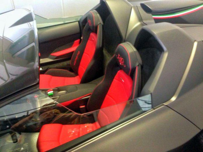 Matte carbon Lamborghini Veneno Roadster interior