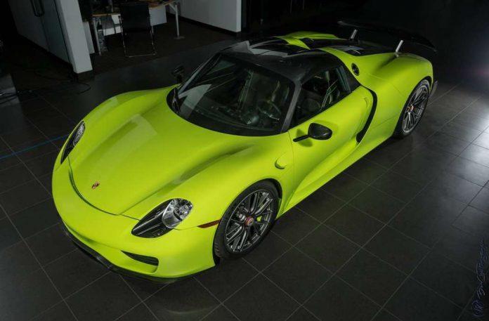 Acid Green Porsche 918 Spyder for sale