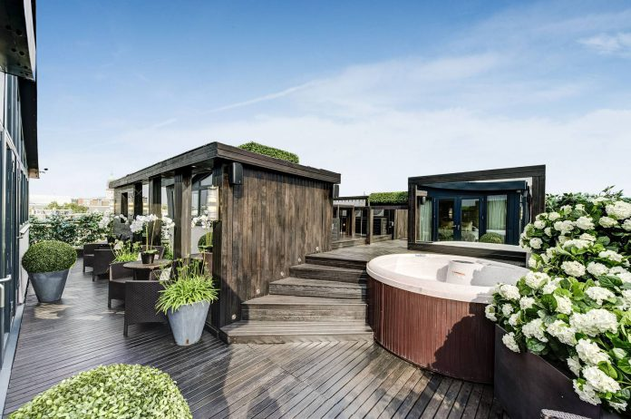 Luxury apartment exterior wood finish