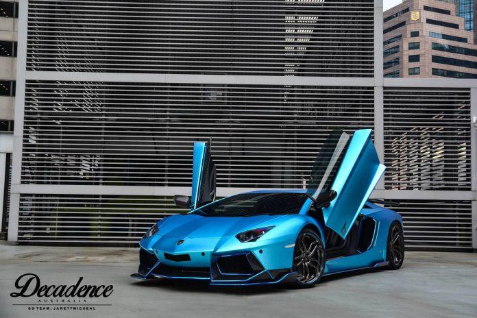 Brushed Metal Blue Lamborghini Aventador