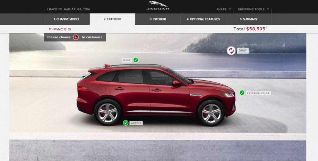Jaguar F-pace online configurator