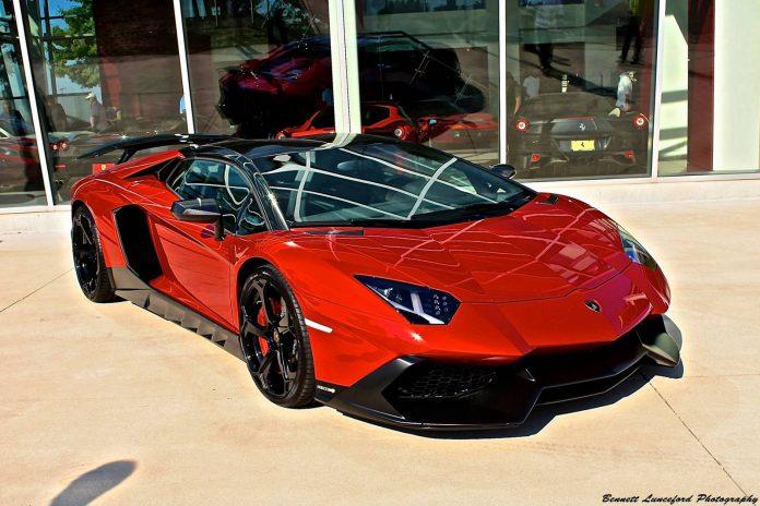 Red Lamborghini Aventador 50th Anniversario Novitec Torado