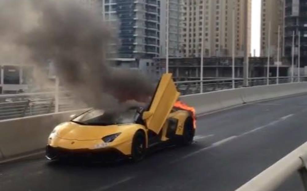 Lamborghini Aventador Roadster Burning (2)